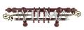 Карниз 2-х рядный деревянный с метал. трубой и зажимом 200 – фото 1